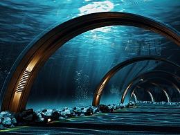 Redshift 海底隧道 场景渲染