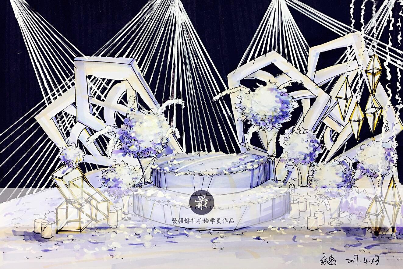 【婚礼手绘】纸面手绘—学员作品 空间 舞台美术 最强