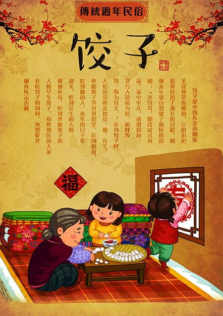 传统包饺子的方法图解手绘