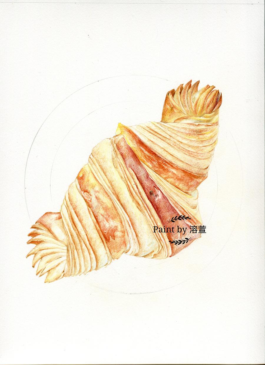 【溶萱手绘——彩铅美食】牛角面包