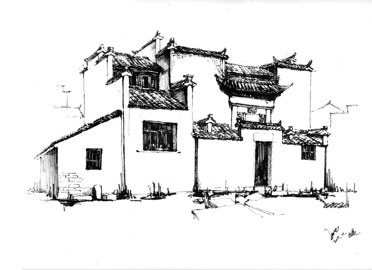 钢笔画的瓦片怎么画-2011年,很开心能去到安徽宏村进行写生实习.   宏村,并不像预想的