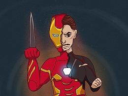 看复联3,画钢铁侠。