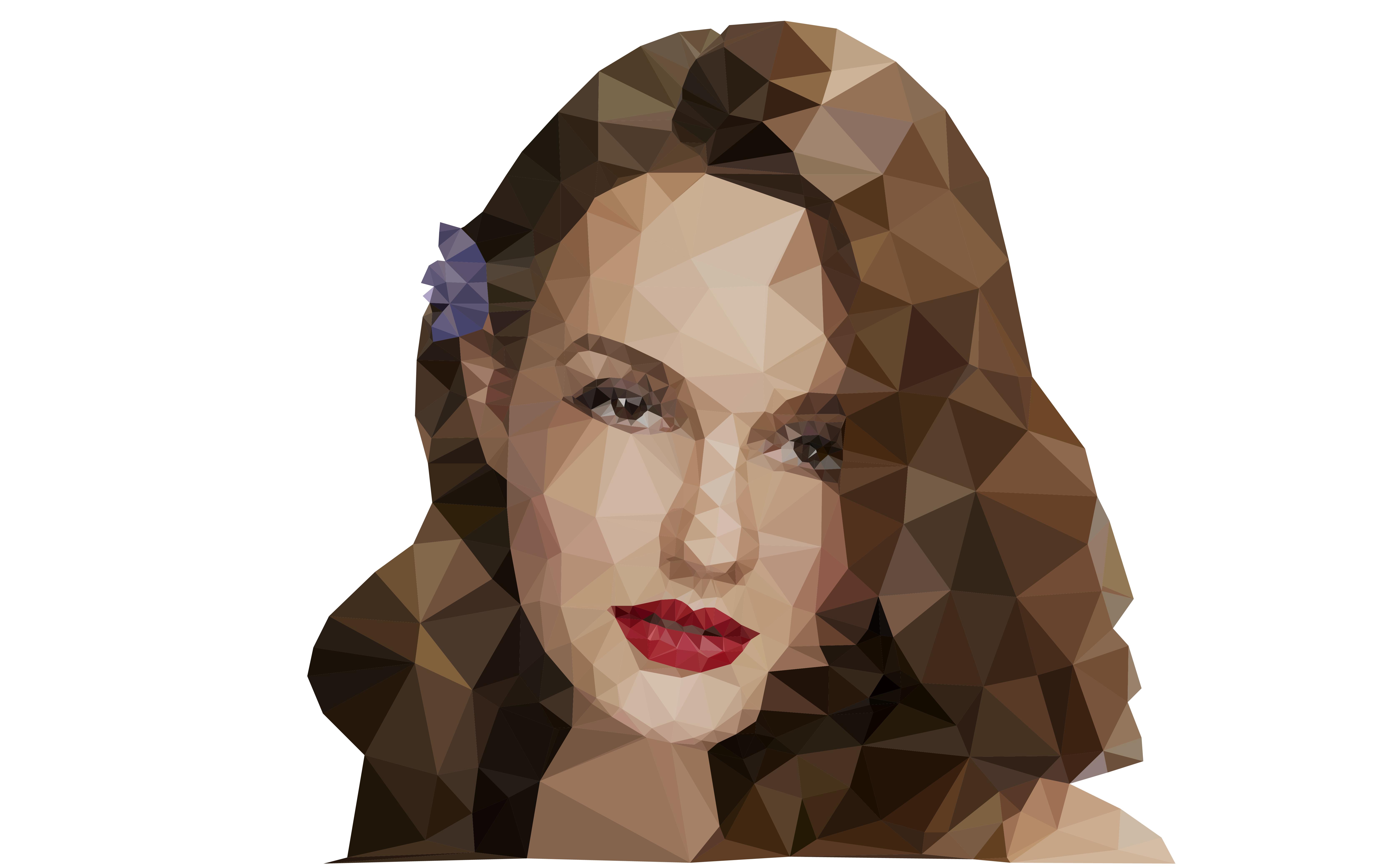 抽象趣味扁平化低面化设计美女头像