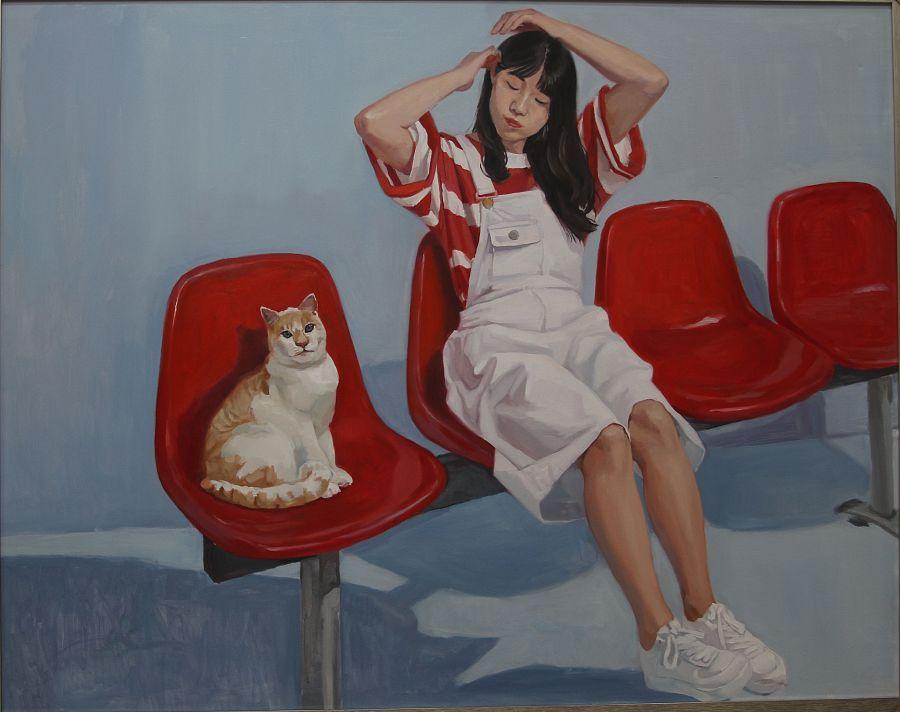 原创作品:《猫与故事》任少蕊少女系天津女生捏的男生油画胸美术图片