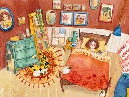 水彩插画 数羊的娃娃屋