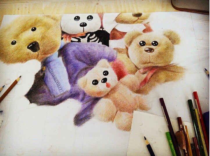 原创作品:2k彩铅手绘泰迪熊.