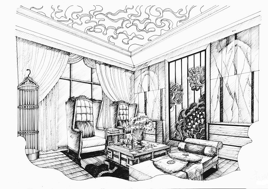 客厅设计手绘 室内设计 空间/建筑 mhc绘