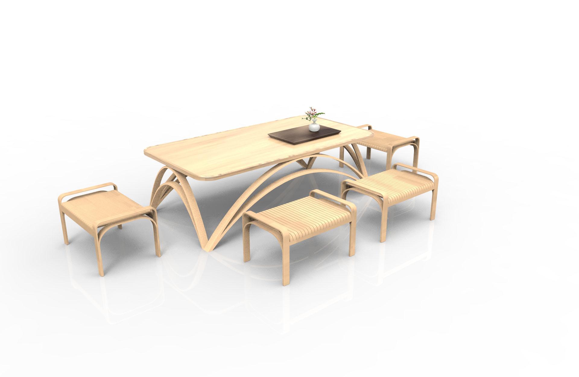 """以""""竹材""""为出发点,设计了一套竹制家具北京柏涛建筑设计招聘图片"""