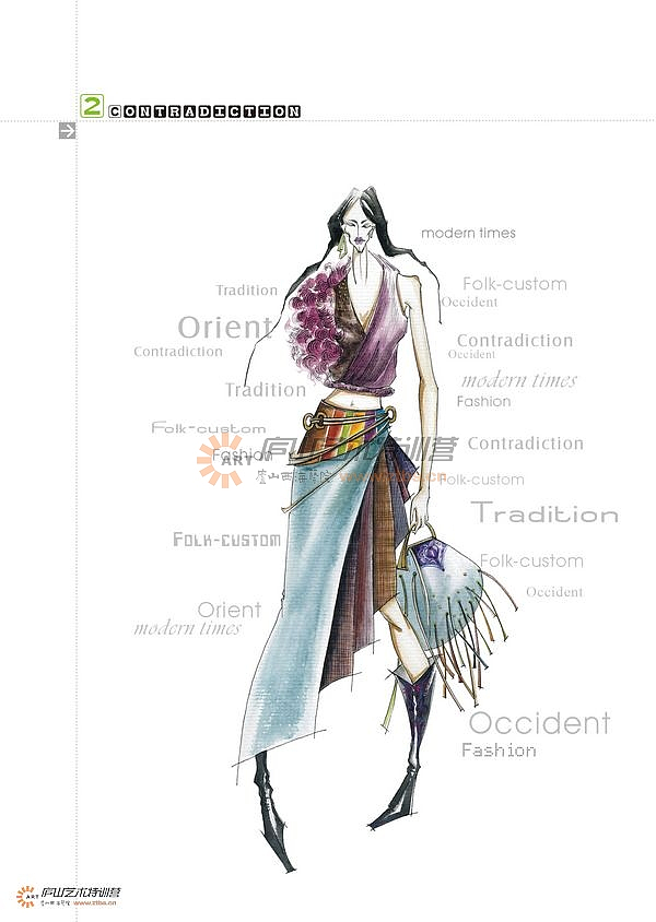 服装马克笔手绘系列——钟蔚老师
