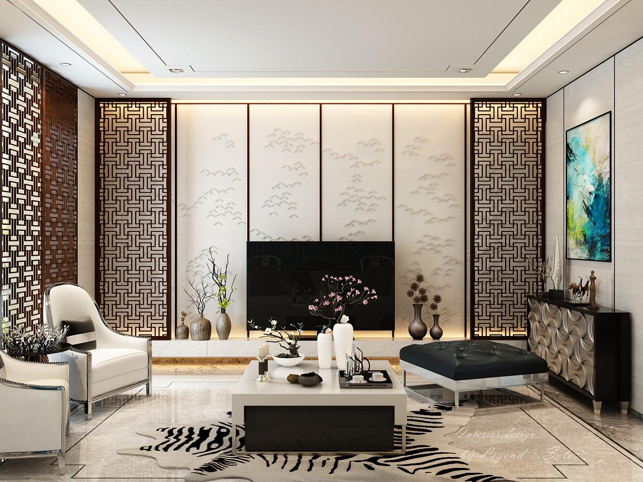 新中式or港式|空间|室内设计|隐居地球 - 原创作品图片