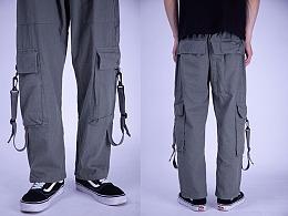 国货潮牌工装裤男街舞潮流运动裤吊带休闲长裤