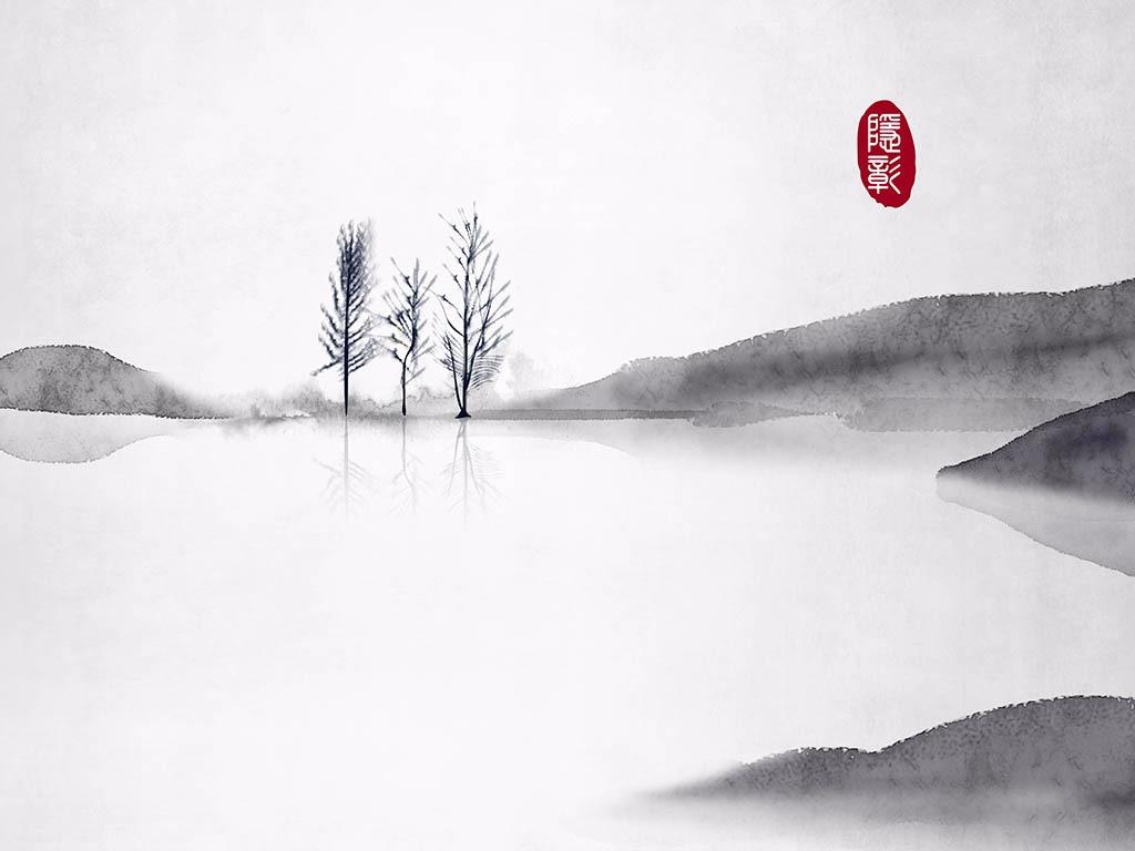 远山和树意境禅意24节气古风水墨画中式中国风古风插画图片