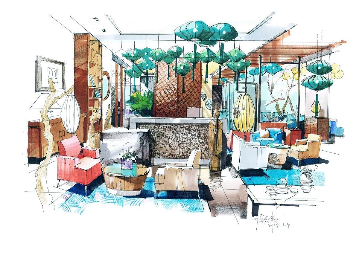 室内手绘作品|其他|文案/策划|汉武手绘 - 原创作品