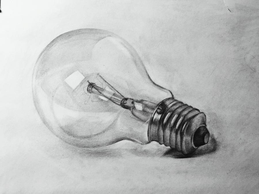 画了一个 灯泡 欢迎拍砖 素描 纯艺术 liwuaaa 原