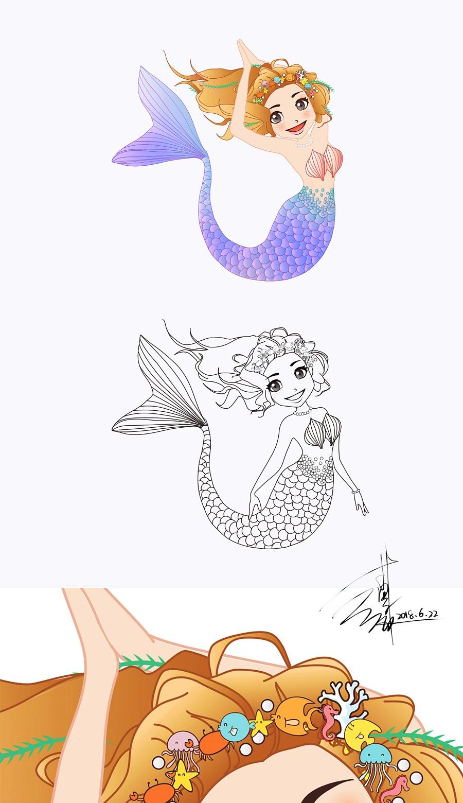 【美人鱼】卡通插画 手绘设计