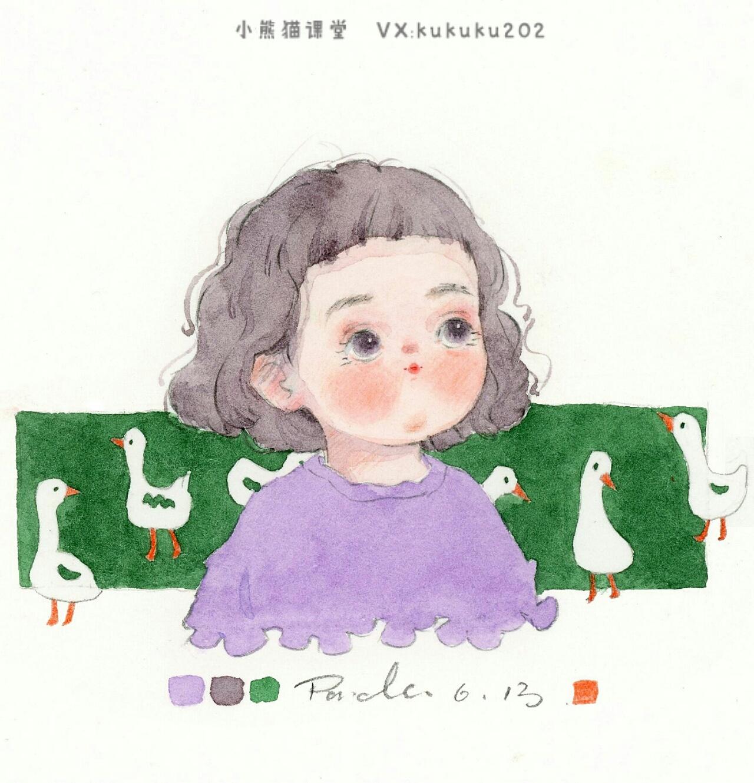 手绘水彩萌娃人物插画卡通插画水彩教程可爱头像壁纸
