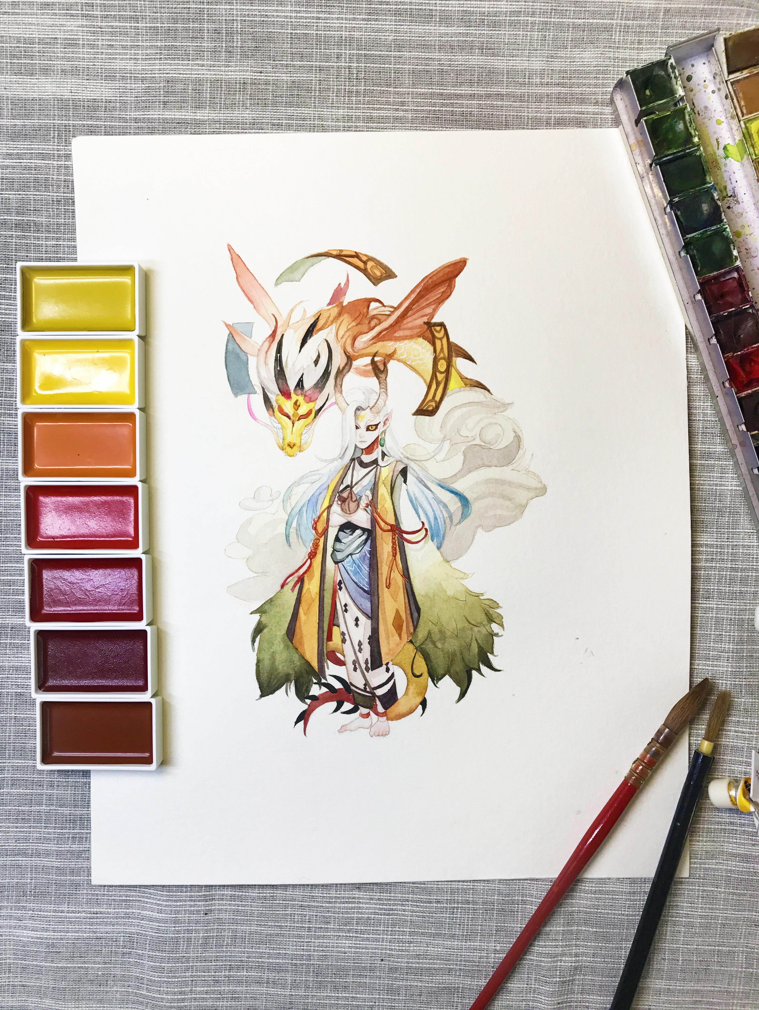 水彩手绘--阴阳师 一目连