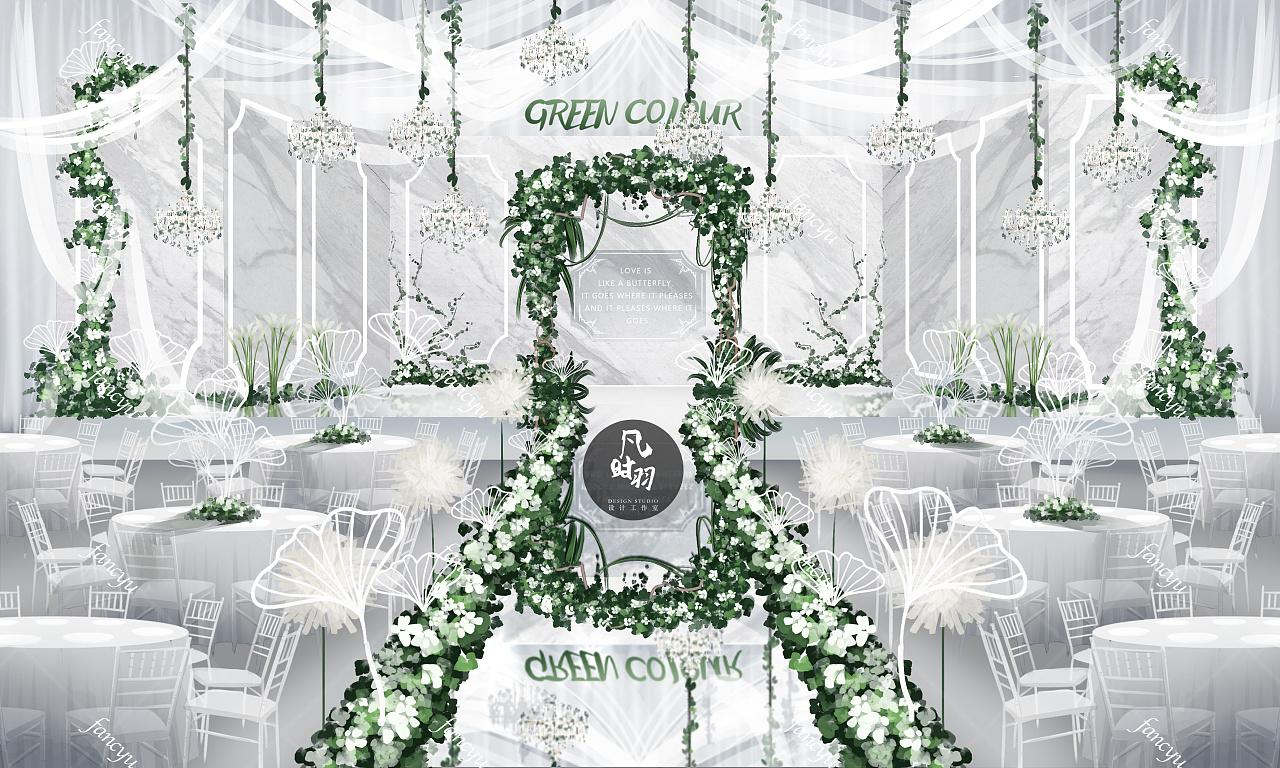 婚礼手绘 — 电脑 「白色恋歌」