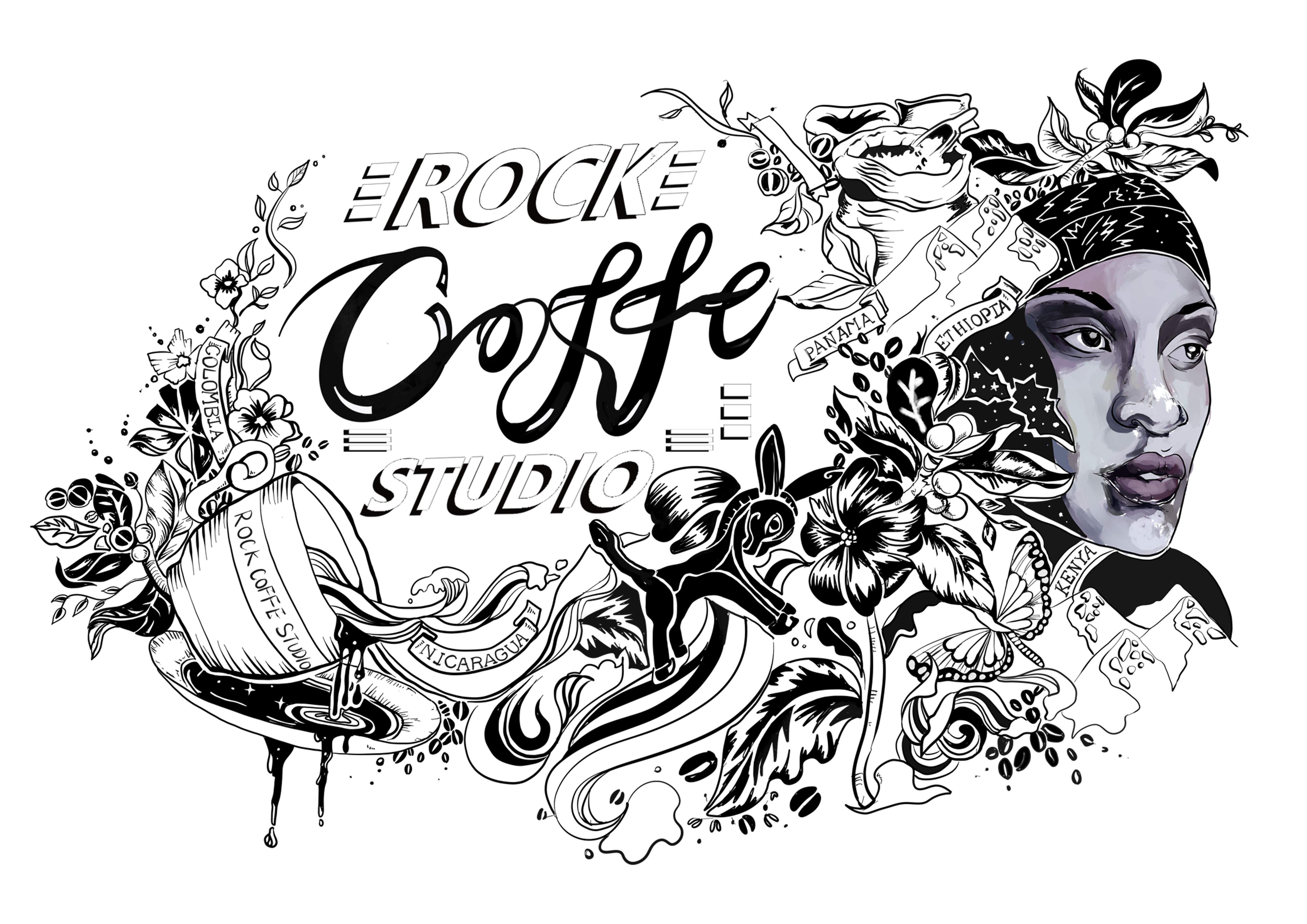 首先是进行了板绘,将要画的图案和字体设计好,题材是咖啡的历史和制作图片
