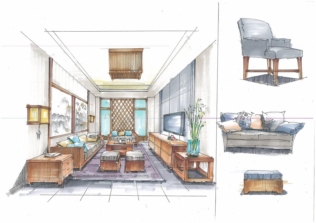 中式空间手绘效果图|空间|室内设计|刘二美 - 原创