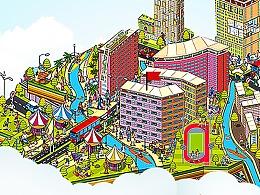 地产商业闪片 房子 学区商圈 卡通 手绘