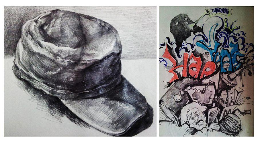 素描帽子与随意涂鸦