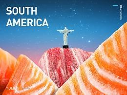 五大洲系列美食合成海报