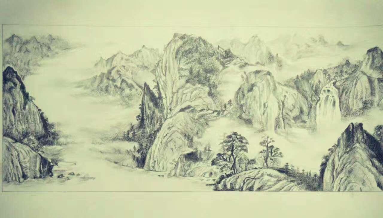 古风山水画素描版