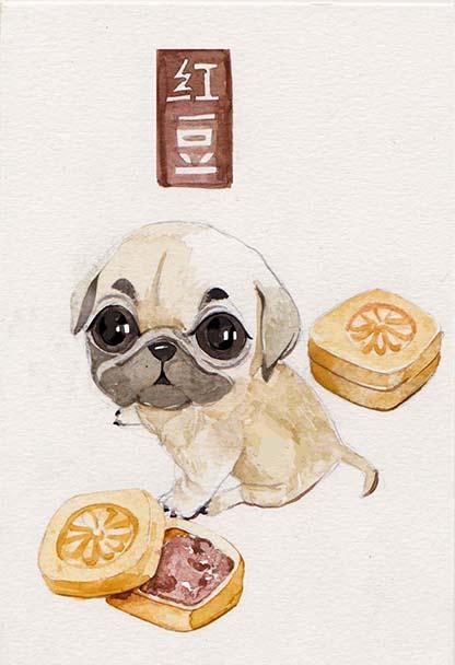 萌宠美食 手绘 明信片