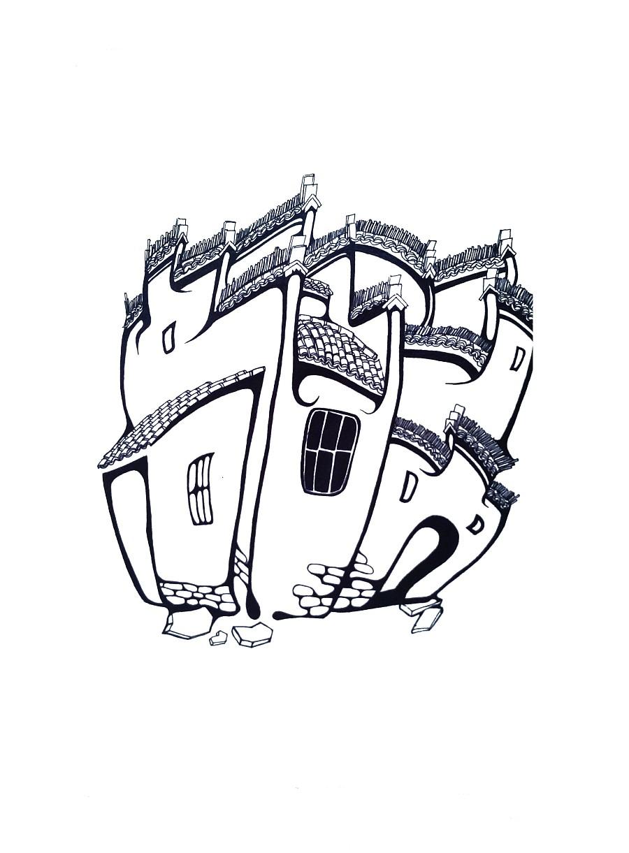 黑白手绘插画宏村|绘画习作|插画|雪雪松松