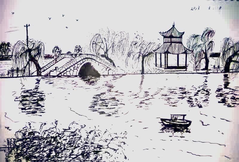 马克笔上色园林系列和钢笔画|图形/图案|平面|烟柳尘