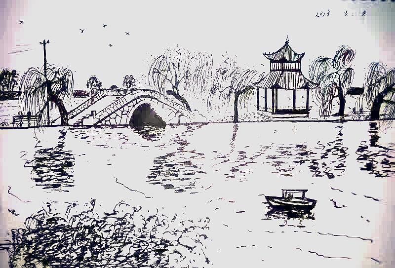 马克笔上色园林系列和钢笔画图片