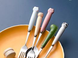 电商产品拍摄 糖果色 可爱动物餐具 不锈钢刀叉勺