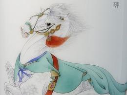 神骏图 陶瓷笔筒