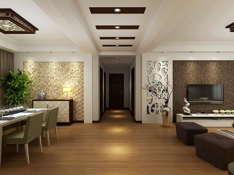 走廊:顶面隐藏梁的造型设计,加上木板做变化处理,让过道不单调,也区分图片