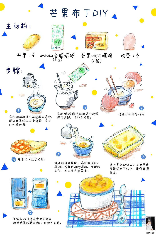 芒果布丁diy/手绘食谱