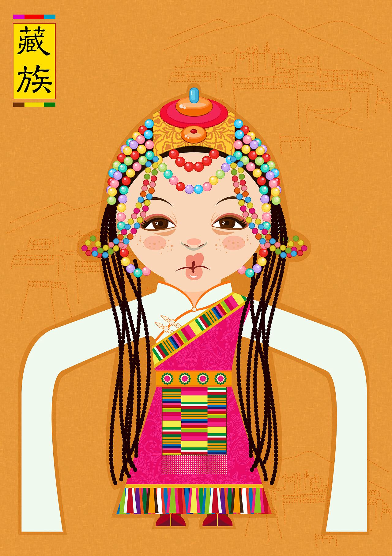 少数民族服饰卡通_少数民族服饰推广·卡通人物形象设计|纯艺术|其他艺创|奶奶Tina07