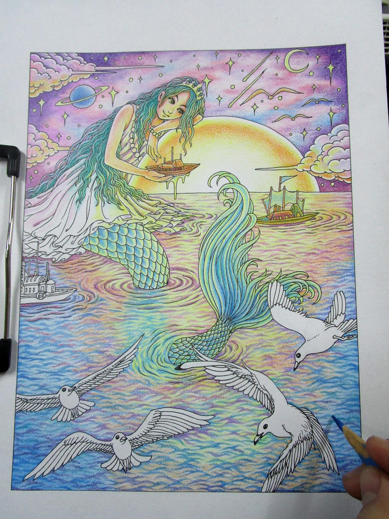 《美人鱼》彩铅手绘 过程详解