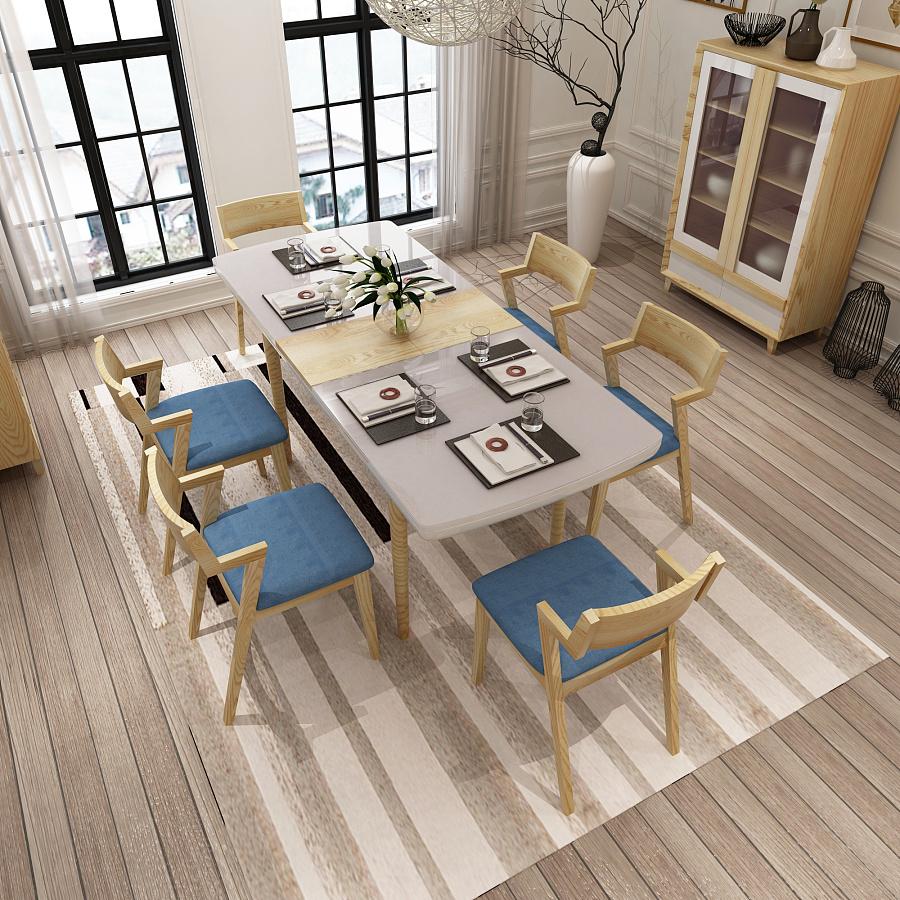 3d效果图【北欧原木餐桌椅】|家具|工业/产品|william图片