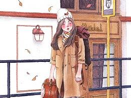 水彩旅行少女过程图