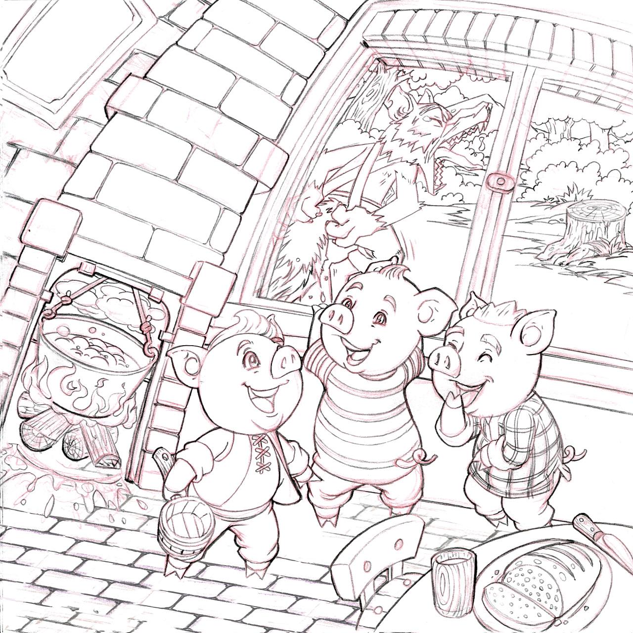 出口的拼图产品-童话插画《三只小猪》草稿图片