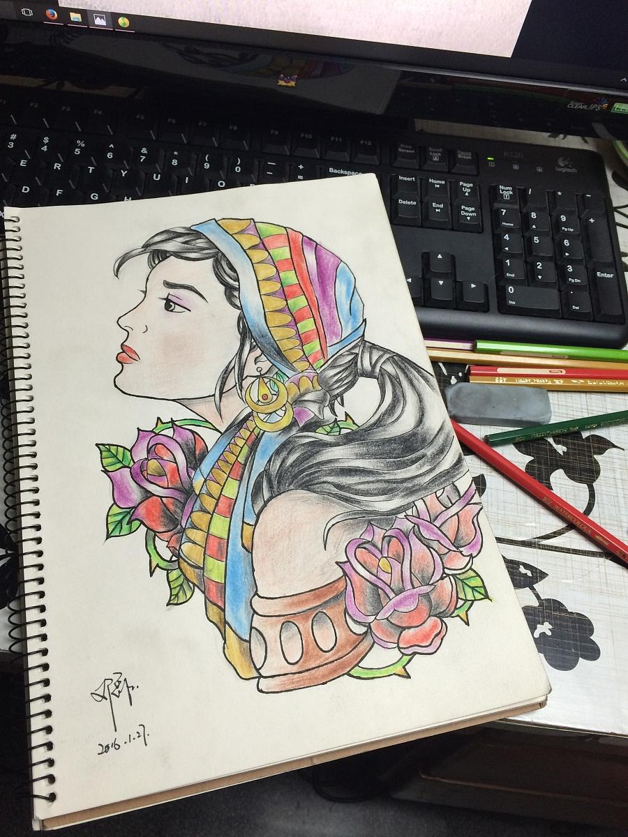 手绘女孩 欧美风格|彩铅|纯艺术|ley1437 - 原创设计