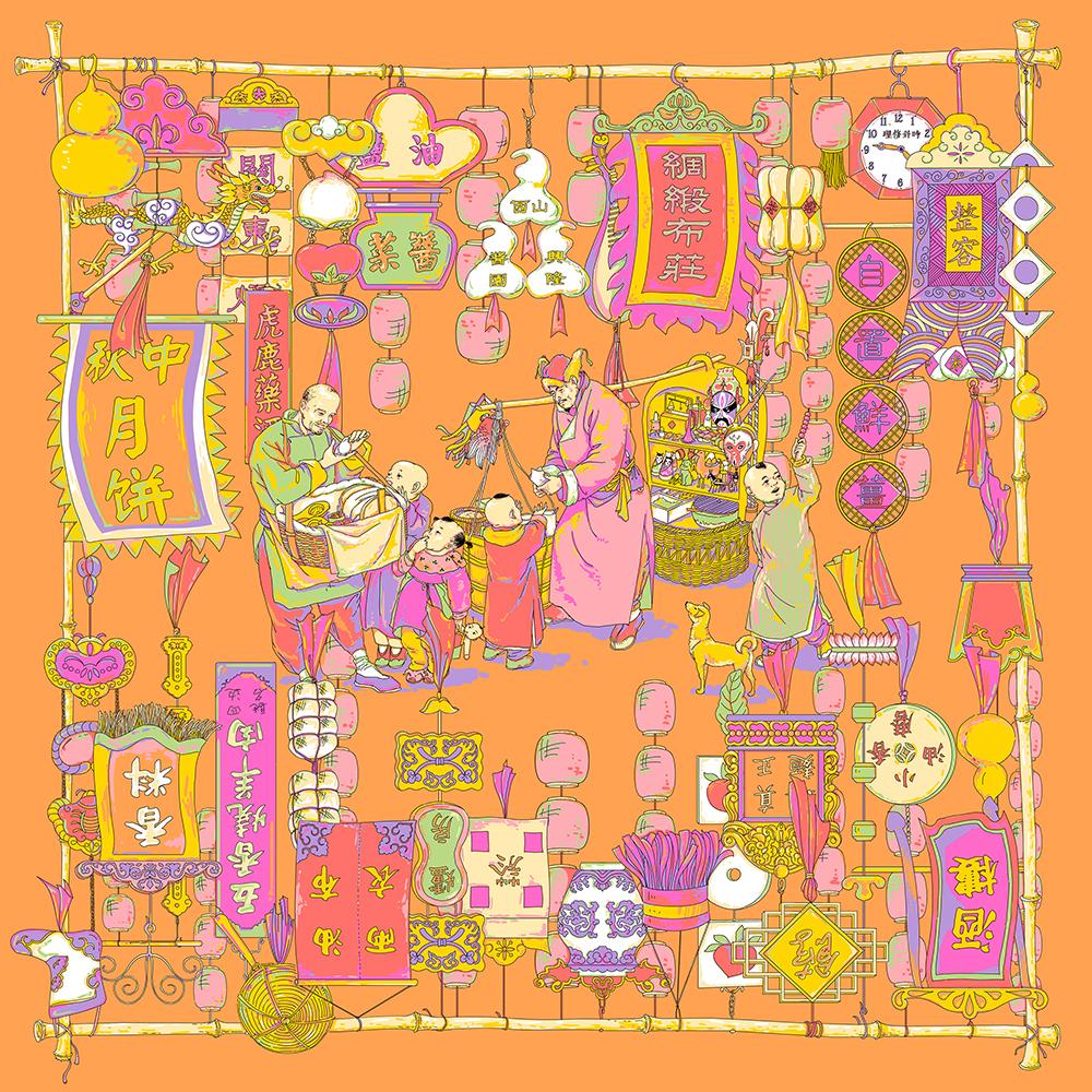 鼋头渚手绘地图丝巾