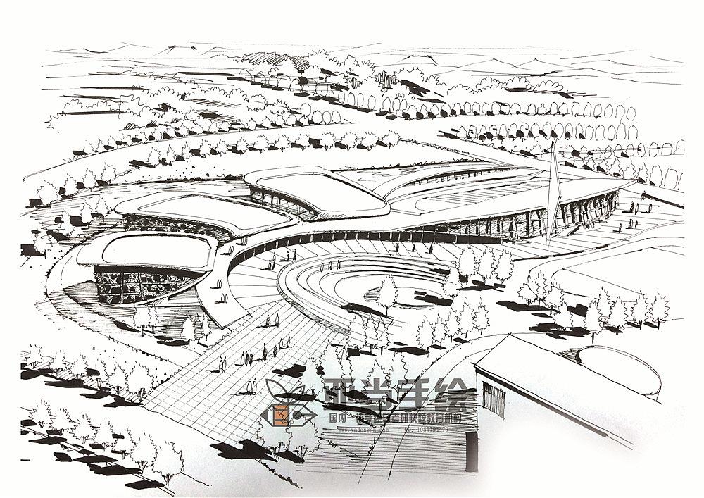 建筑城规鸟瞰图马克笔手绘空间设计表现|三维|建筑