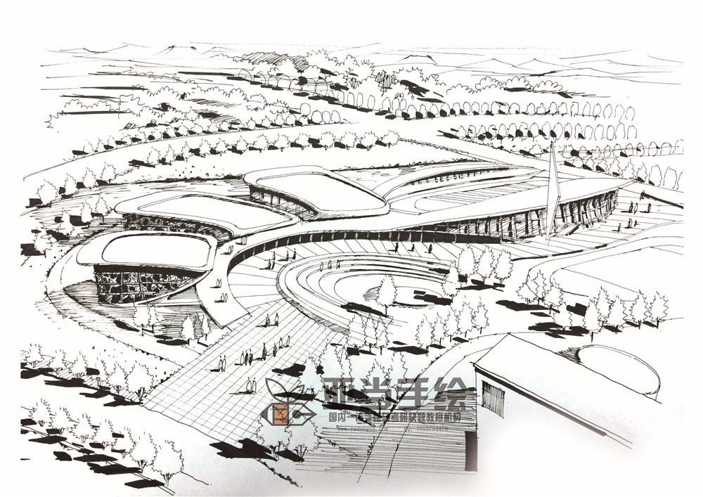 建筑城规鸟瞰图马克笔手绘空间设计表现