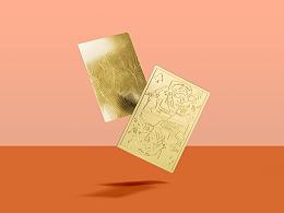 黄铜扑克牌书签设计包装设计以及黄铜产品概念照片拍摄