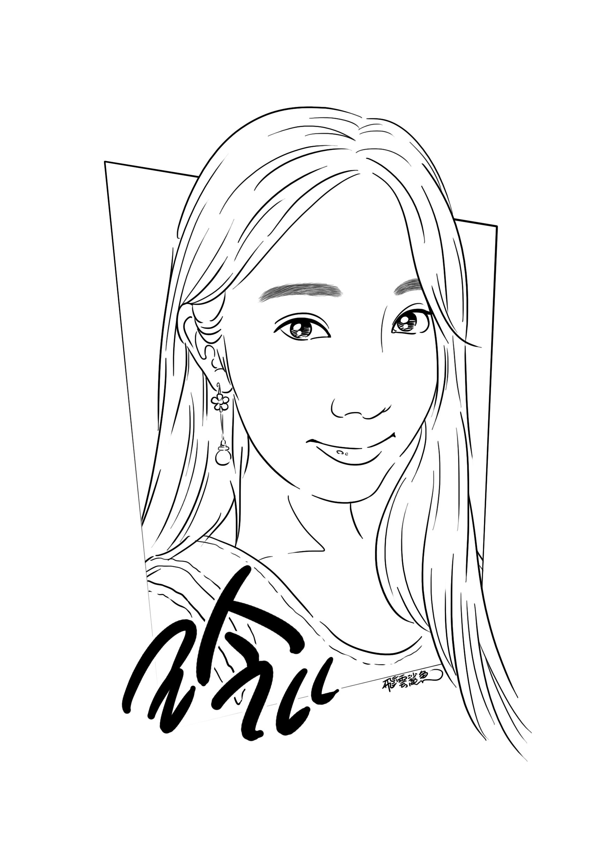 手绘线稿肖像|插画|插画习作|飞云鲨鱼 - 原创作品