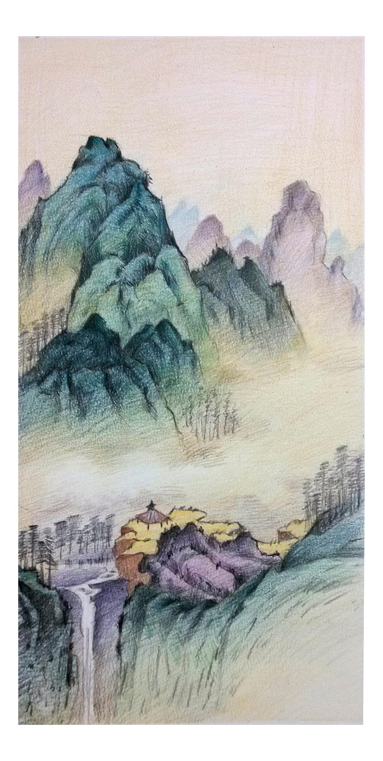 欧洲风景手绘彩铅