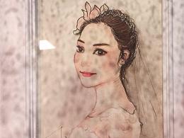水彩卡通新娘人物肖像