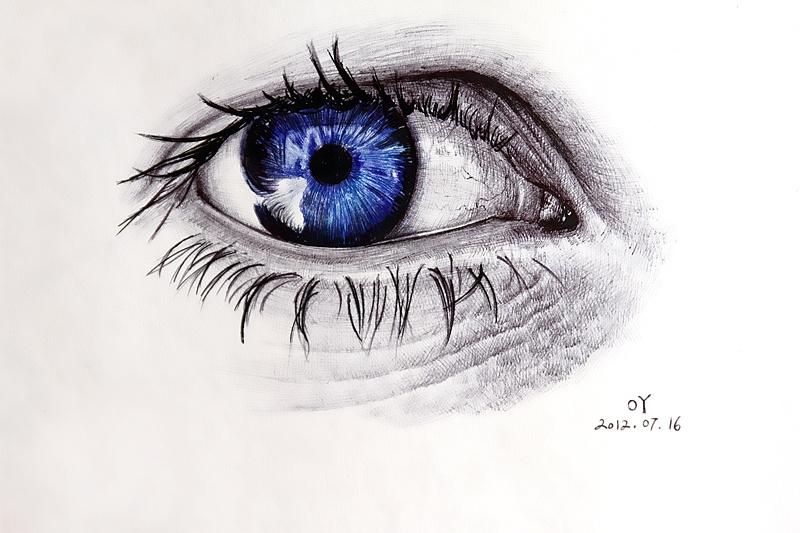 oy圆珠笔画:眼睛